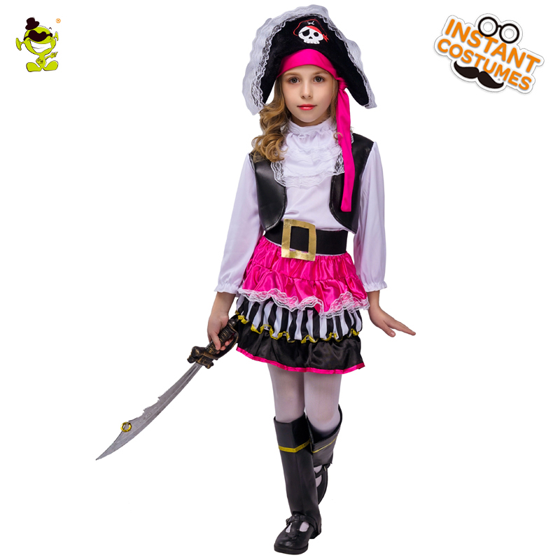 Halloween 2019 Costumes Girls.Kids Pink Pirate Halloween Costumes Girls Party Cosplay Costume For Children Carnival Christmas Captain Costume