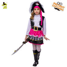 Kids Pink Pirate Halloween Costumes girls party cosplay costume for children Carnival Christmas costume