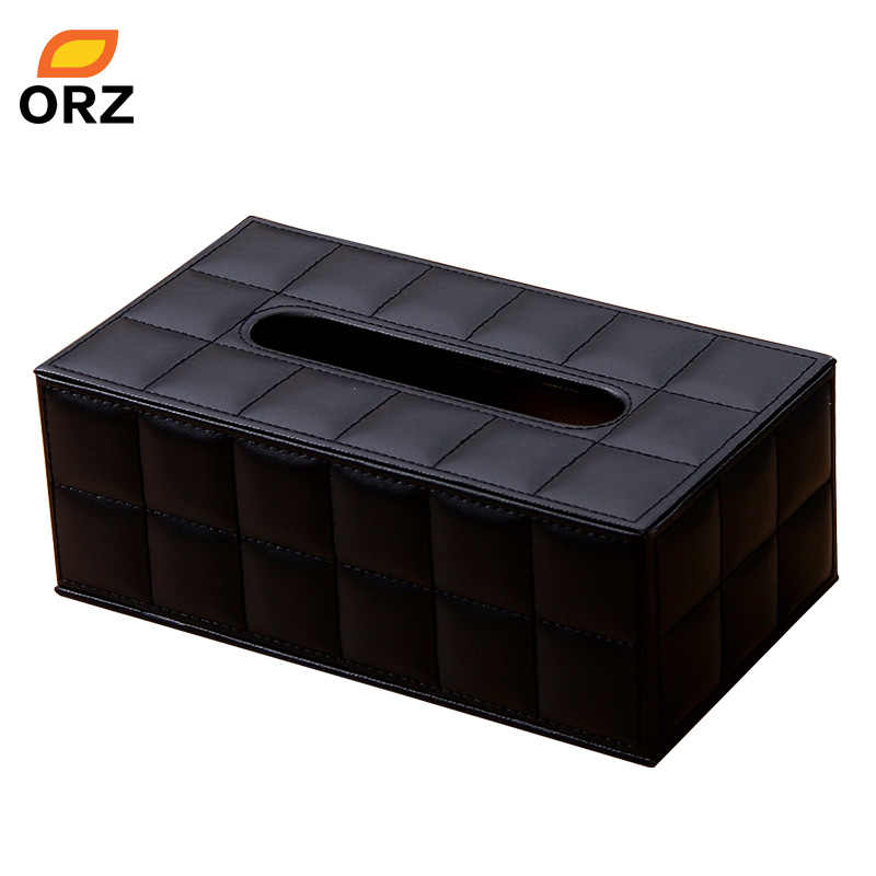 ORZ Tissue Paper Boxes Leather Pu Facial Napkin Cover Organizer Office Car Household Toilet Paper Holder Container Tissue Box