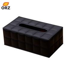 ORZ Tissue-papier-boxen Leder Pu Gesichts Serviette Abdeckung Organizer Office Auto Haushalt Toilettenpapierhalter Container Tissue Box