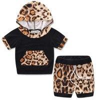 Leopard Newborn Baby Girl Boy Summer Clothes Set Short Sleeve Hooded Top Short Bottom 2PCS Outfit
