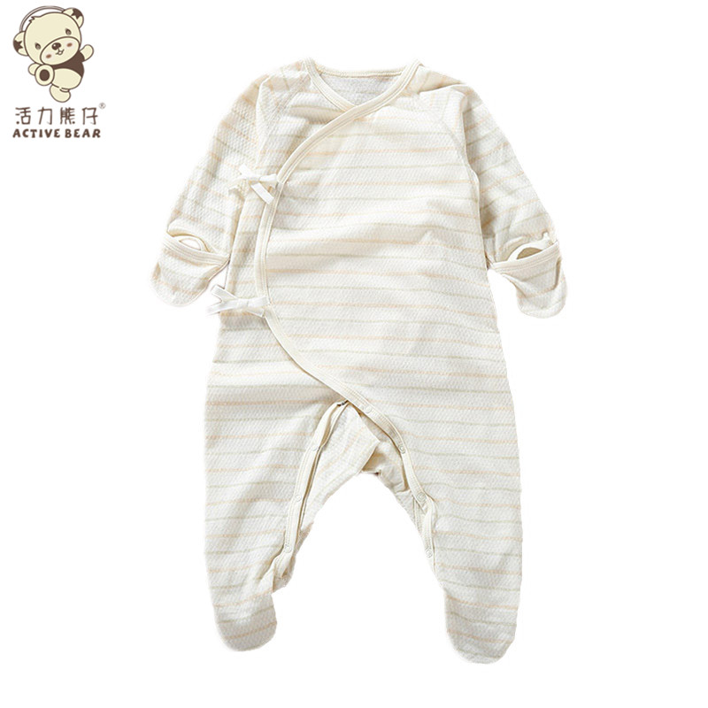 Baby Jumpsuit Long sleeved Newborn Boys Girls Rompers stud snap Unisex Organic Cotton Soft Climb Clothes