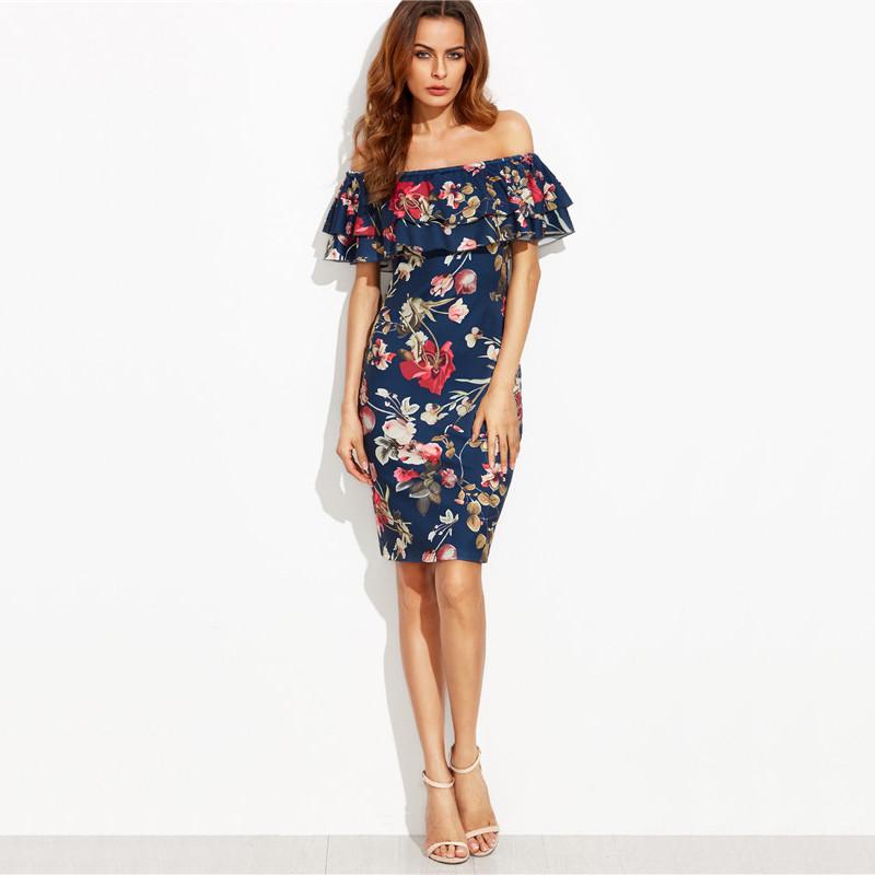 Floral Print Off The Shoulder Ruffle Sheath Dress ...