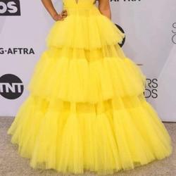 Платье-пачка женское, желтое, длинное, с молнией на талии