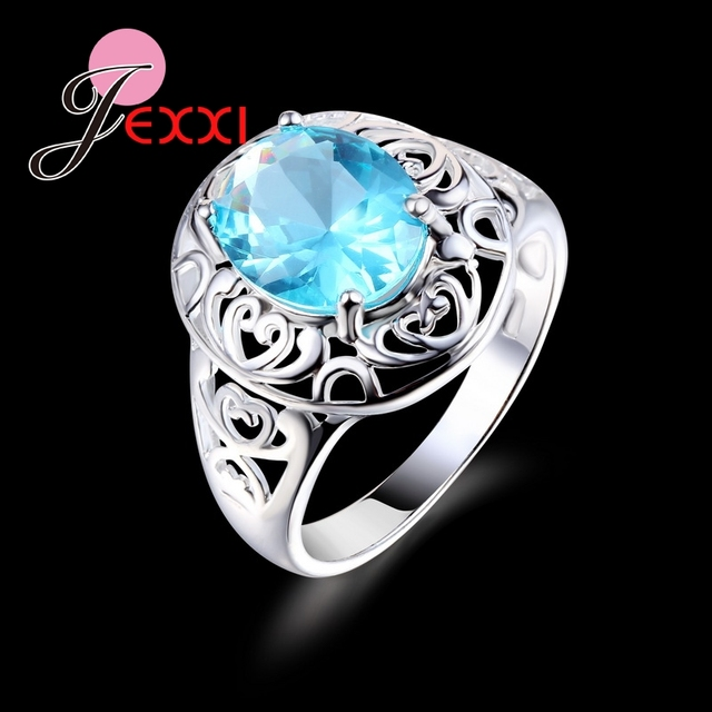 PATICO 925 Sterling Silver CZ Blue Cubic Zirconia Jewelry Wedding Party Ring US Size 7-8-9 Fashion Design Romantic Jewelry