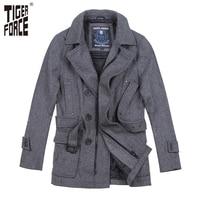 TIGER FORCE 2018 New Collection Men Woolen Coat Autumn Long Mens Coat Wool Overcoat With Belt Dark Grey European Free Shipping