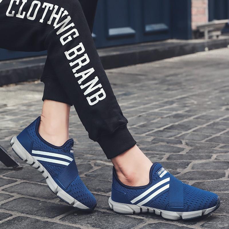 66 Sneakers Tenis Calçado Marca Blue Sapatos Homem dark gray Homens Big Size Vogue Anti Mocassins Listrado Casuais No slip Black Escorregar qPgpwE7n