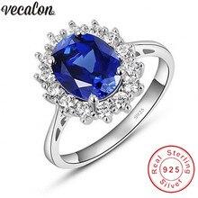 Vecalon Fijne Sieraden 100% Echt 925 Sterling Zilveren Ring 5A Blauw Zirkoon Cz Diana Engagement Wedding Band Ringen Voor Vrouwen bridal