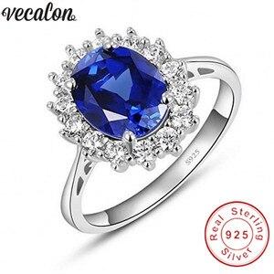 Image 1 - Vecalon güzel takı 100% gerçek 925 ayar gümüş yüzük 5A mavi zirkon Cz Diana nişan düğün Band yüzük kadınlar için gelin