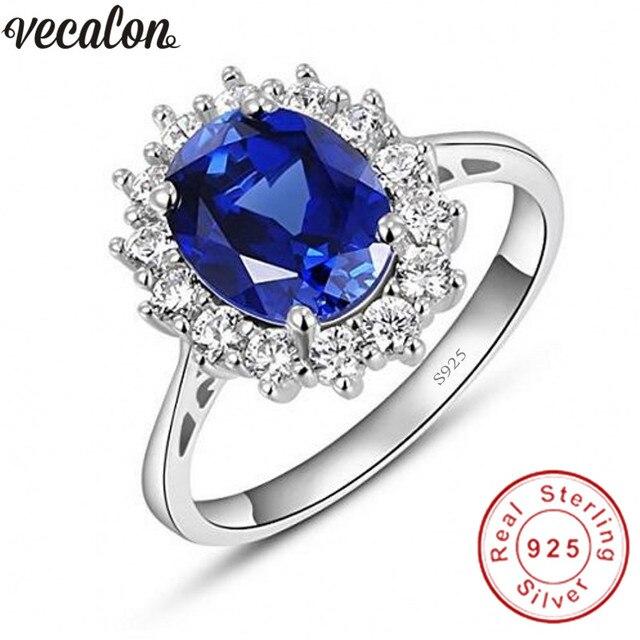 Vecalon güzel takı 100% gerçek 925 ayar gümüş yüzük 5A mavi zirkon Cz Diana nişan düğün Band yüzük kadınlar için gelin
