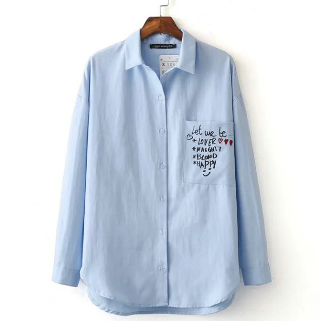New Fashion Women Embroidery Print Blue font b Blouses b font Single Pocket Long Sleeve Turn