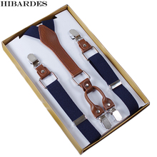 4 Clip Men's Suspenders Men Braces Supports tirantes For Women Elastic Adjustable Pants Straps Clothing