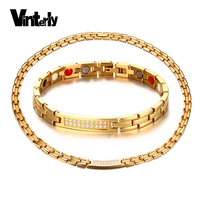 Vinterly Crystal Jewelry Sets for Women Choker Gold color Chain Energy Germanium ID Bracelet Necklace Women Magnetic Chocker