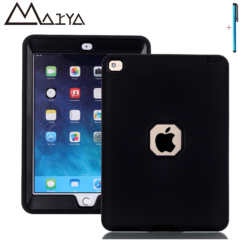 Case For iPad Air 2 Tablet Cover Three Layer Heavy Duty Armor Rugged Shockproof Silicon PC Hard Protective Shell For iPad 6 Case
