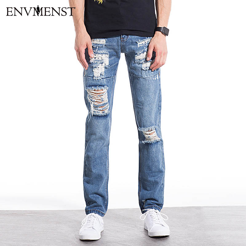 2017 New Brand Clothing Ripped Jeans Men High Quality Rivet Ripped Jeans for Men Casual Style Hole Pencil Pants Hot Sale