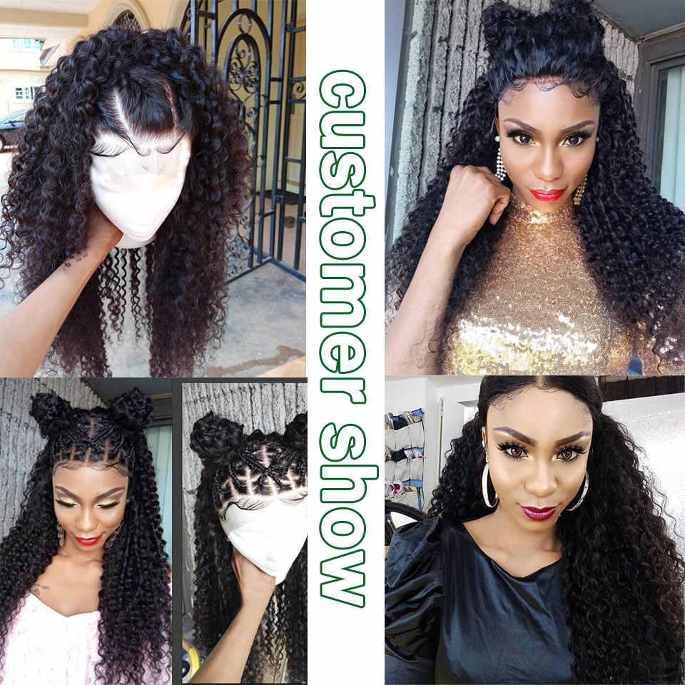Mongolischen afro verworrene lockige 2/4 bundles mit verschluss menschliches haar bundles mit verschluss brasilianische haarwebart bundles mit verschluss