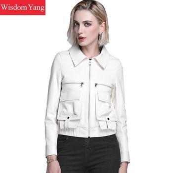 Otoño blanco Real de piel de oveja de cuero genuino chaquetas mujeres capa corta 218 Zipper damas bombardero chaqueta abrigo abrigos