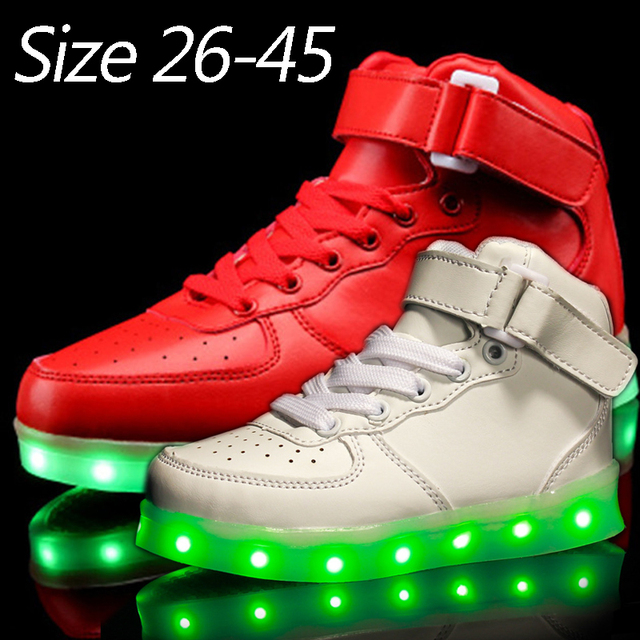 Luminous Led Kids Neon Sneakers Light up Children Flashing high top Trainer  Flasher Shoe with usb con Glow for Boy Girl Boots 45424e690