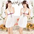 Satén de Seda de la Ropa Interior de La Honda Princesa Camisón Sexy Vestido de Noche Las Mujeres de La Vendimia Blanco ropa de Dormir