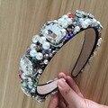 Europa Estrela T Mostrar Barroco de Luxo Completa Rhinestone Hairbands Moda Headbands De Pérolas de Cristal Artesanal Cabelo Acessório Presente Da Menina