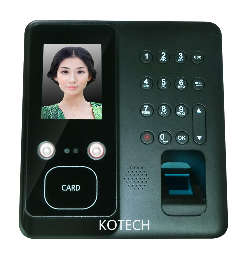 Good quality 2.8 inch touch screen face and Fingerprint time attendance with 1000 face users face recognition time clock face recognition using three dimensional and multimodal images