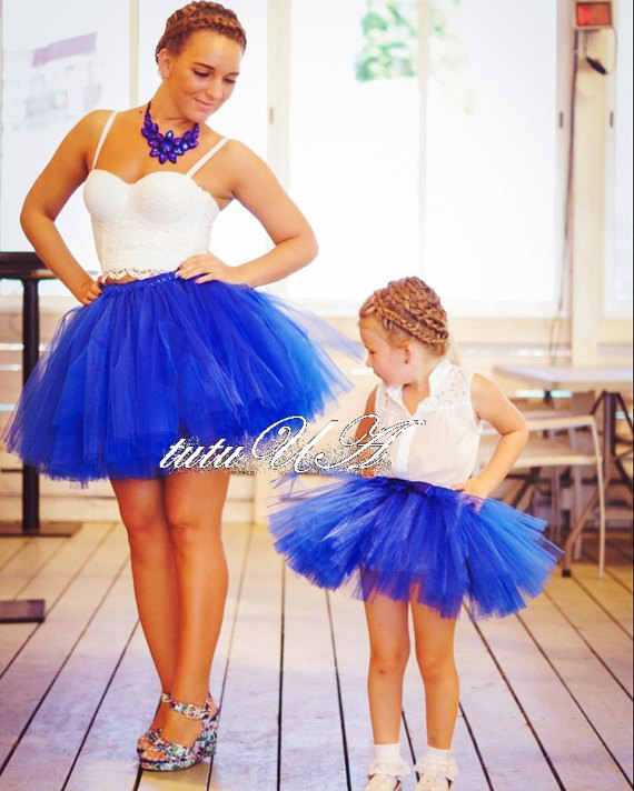 1833adce289ef4 Blue Mommy and Me Tutus Girls Skirts Adult Plus Size Skirt Suit Matching  Mother and Daughter