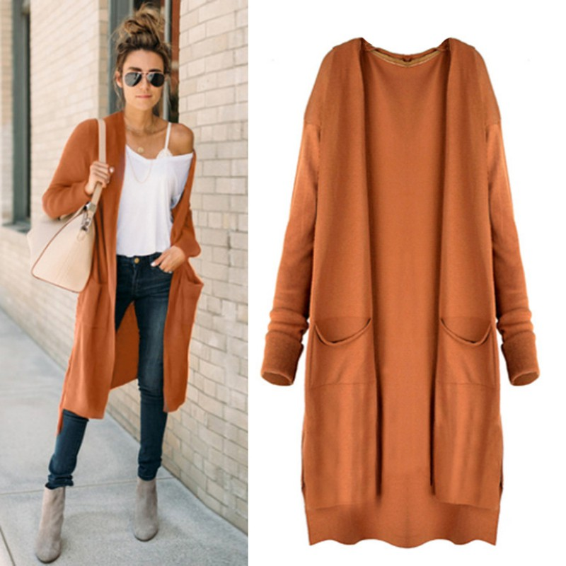 Women Sweater Cardigan Female Sweaters Thin Outerwear Pocket Aurumn Sweater Coat ...