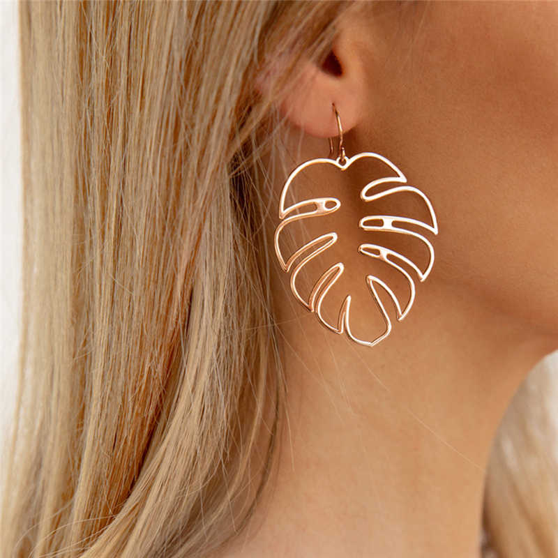 Creative Bohemian Hollow Monstera Leaf Dangle Drop Earrings For Women Jewelry Accessories Holiday Party Gift