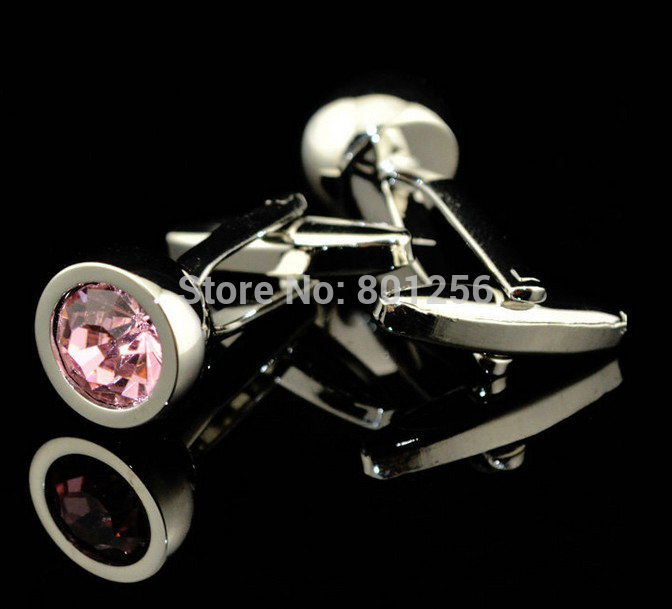 Free shipping Crystal Cufflinks red/pink color small round design hotsale copper material cufflinks whoelsale&retail