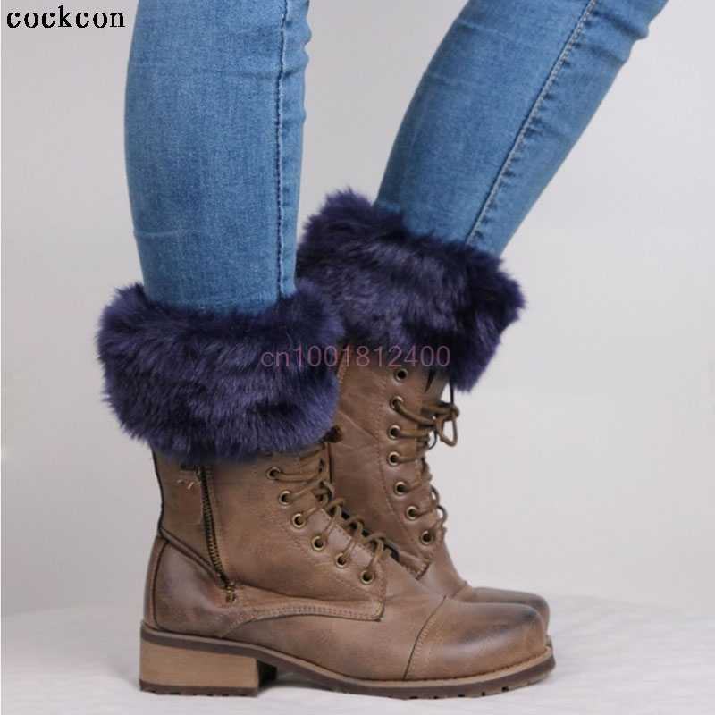 Women Winter Leg Warmers Lady Crochet Knit Faux Fur Trim Leg Boot Socks Toppers Cuffs
