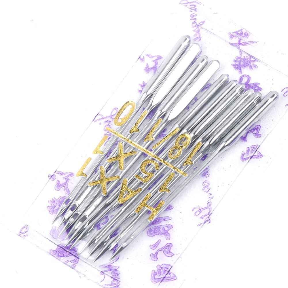 10 Uds roscado Industrial y doméstica Overlock máquina de coser agujas lana DIY de coser 75/11, 80/12, 90/14, 100/16, 110/18