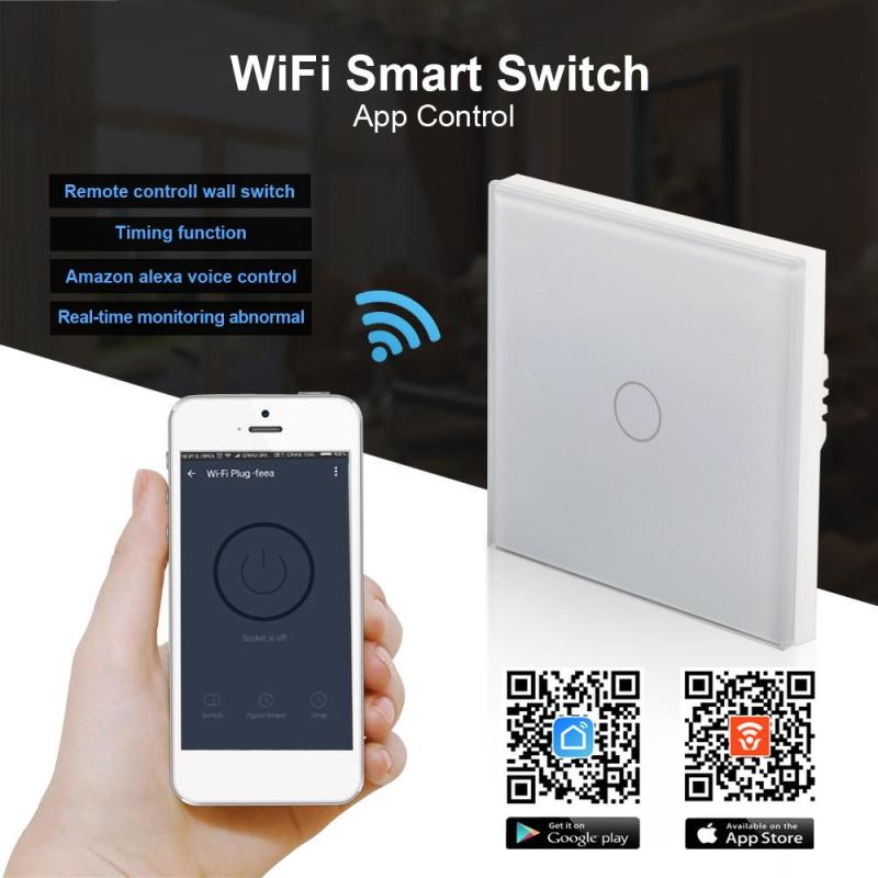 UK plug WiFi Smart Home Switch 220V 1 Button APP Control Work With Amazon Alexa voice control Waterproof Touch wall Switch Glass suck uk