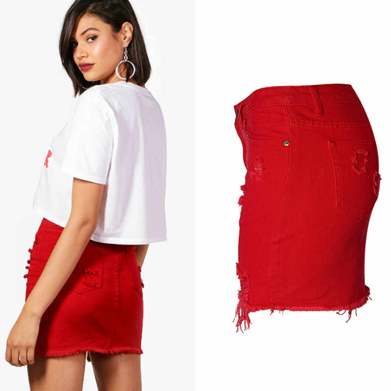 color brilliancy size 40 sale usa online England High Waist Sexy Jeans Skirts Women Top Quality Cotton Irregular  Hole Ripped Denim Skirts Mujer Red Tassel Short Saia