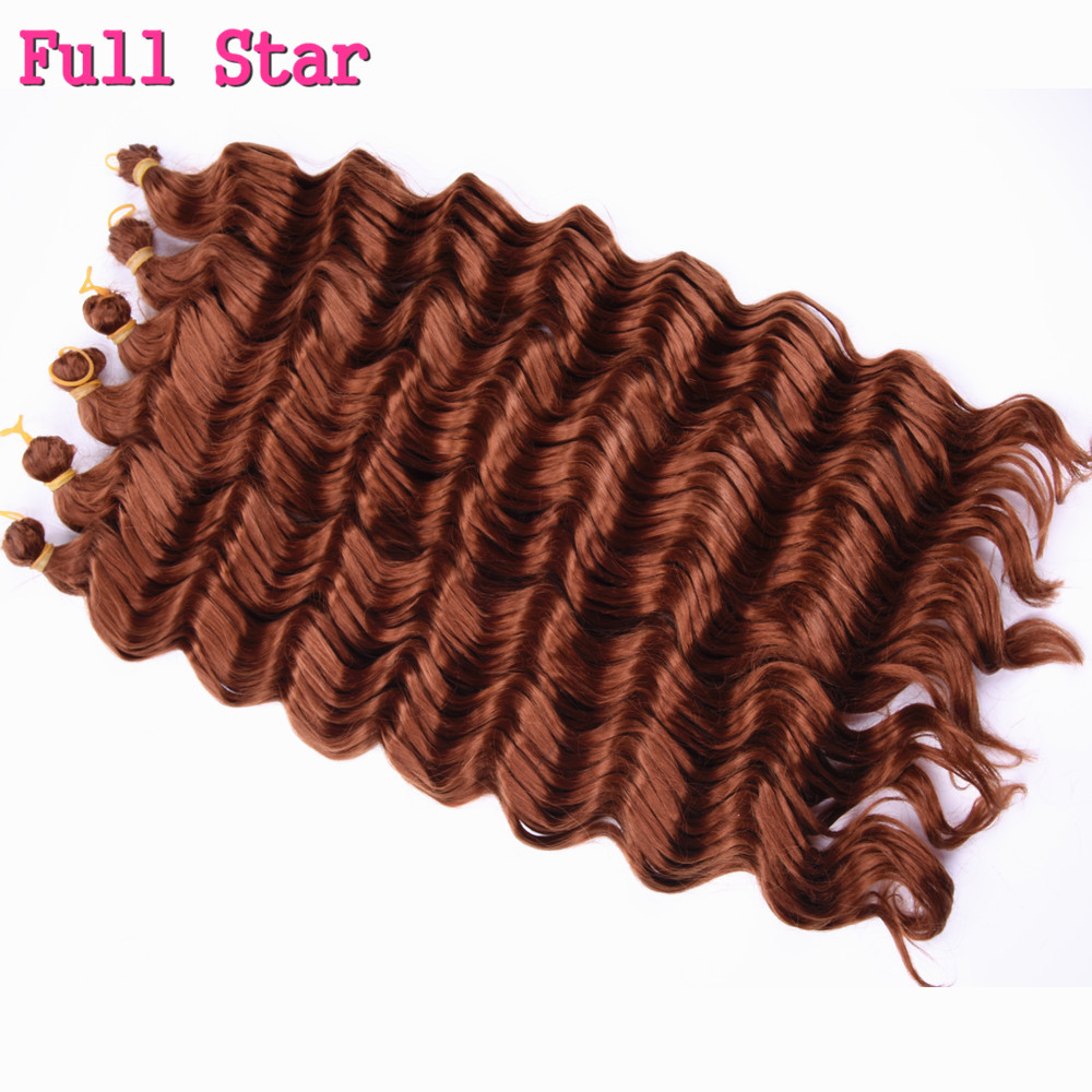 9pcs 22 Deep wave Ombre Crochet Braids Hair 80g Full Star Low Temperature Fiber Braiding Synthetic