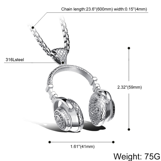 Hip Hop Jewelry Men Necklace Stainless Steel Music Headphone Pendant Necklaces 2018 Fashion Cool Gifts Mens Jewellery Collier 5