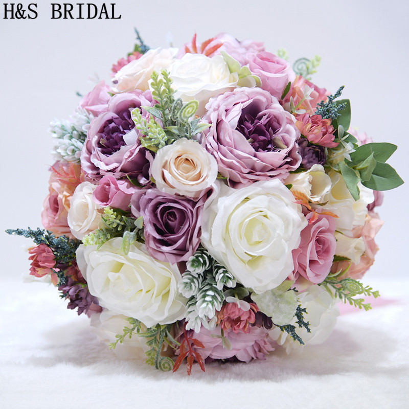 H&S BRIDAL Pink Bridal Bouquet Purple Bouquet De Mariage Artificial Vintage Wedding Bouquets For Brides 2020 Bridesmaid Flower
