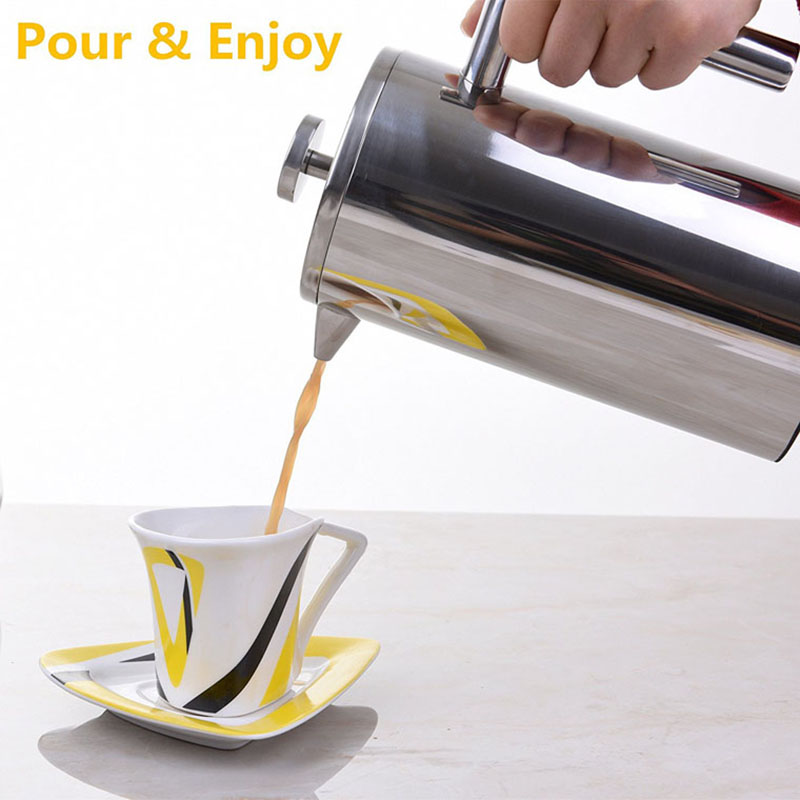 French Press Coffee Maker Double Wall Stainless Steel Coffee Tea Pot With Coffee Filter Baskets Cafetiere Insulated Percolator