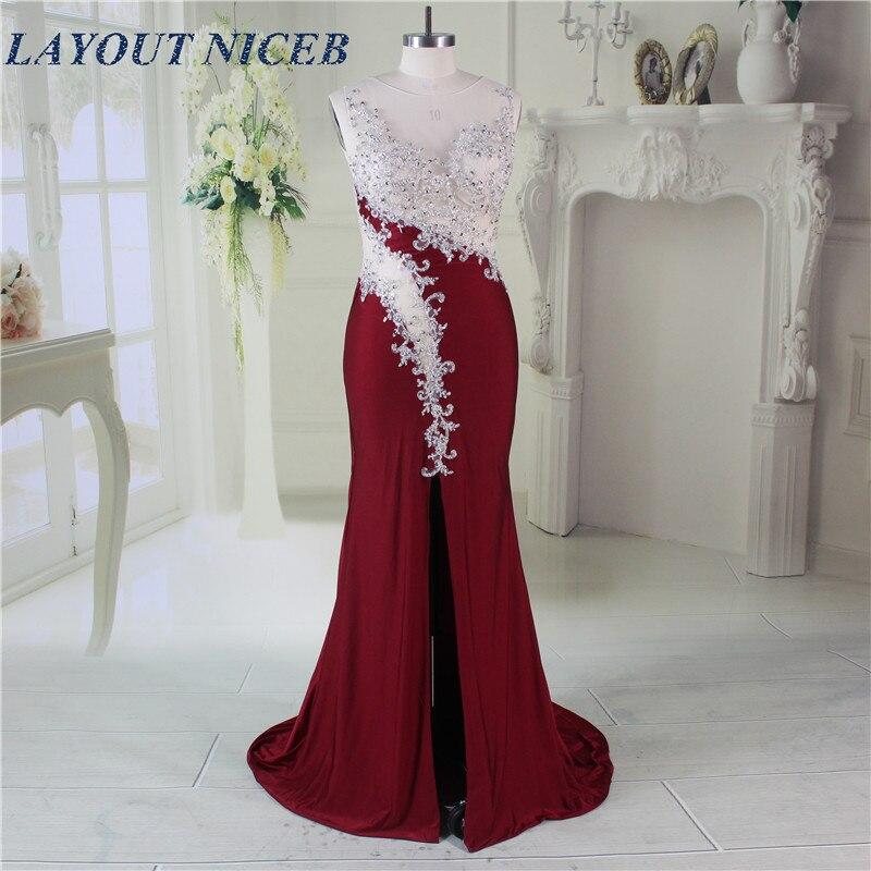 Elegant Robe de Soiree Illusion Neckline Forsiden Split Sexy Burgundy - Spesielle anledninger kjoler - Bilde 1