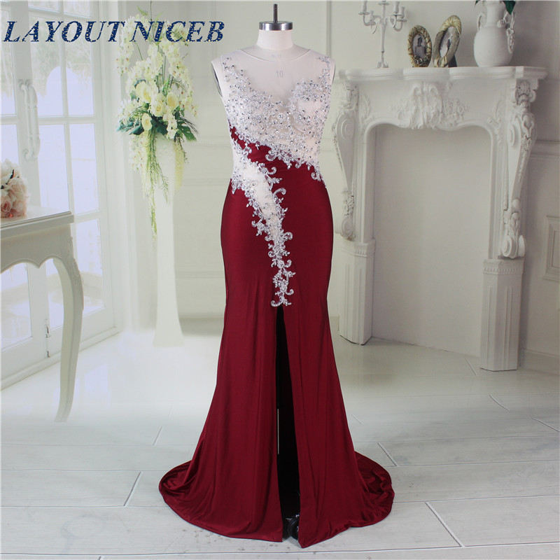 Elegant Robe de Soiree Illusion Neckline Front Split Sexy Burgundy Mermaid   Evening     Dresses   Classy Cut Out Backless Prom Gowns