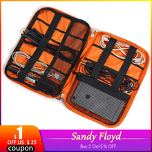SandyFloyd USB Cable Storage Bag Gadget Organizer Double Layer Travel Electronic Digital Kit Pouch Ipad Earphone Charger Wires