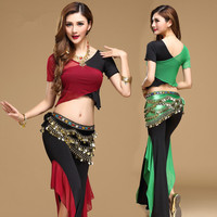 Quality Belly Dance Costume Set Bellydance Training Clothing Indian Set Gauze Set Pants Color Block Set
