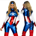 Captain America Traje atractivo de Las Mujeres de Halloween Carnaval Cosplay Mono Película Lego Vengadores Capitán América Adultos Traje