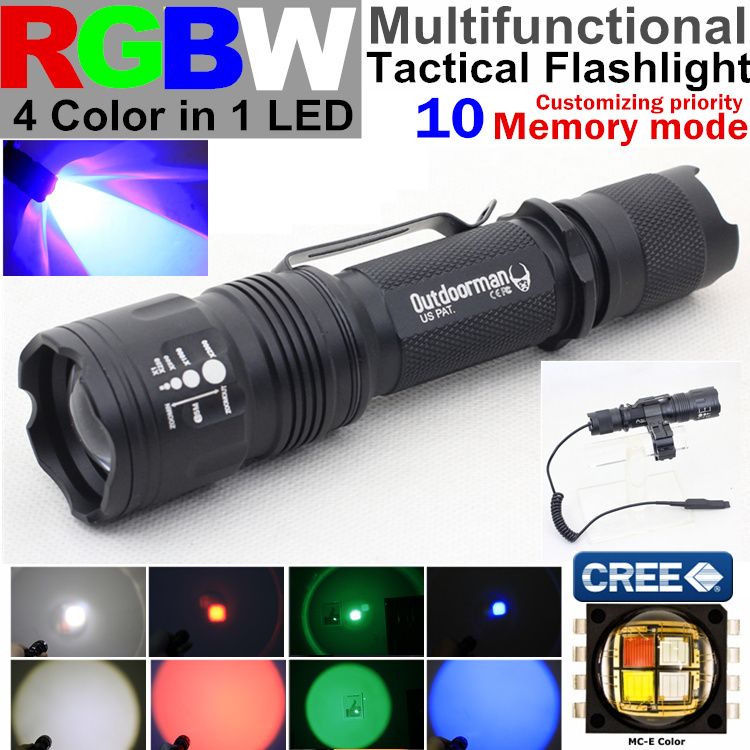 RA-601ZOOM 10 mode Memory CREE MC-E RGBW 4 color 1(red blue green white)zoom Police torch Tactical Flashlight Lantern light - QIHANG fashion shop store