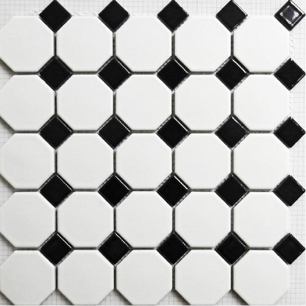 Mate azulejo del mosaico blanco y negro de pared ba o de for Azulejo a cuadros blanco y negro barato