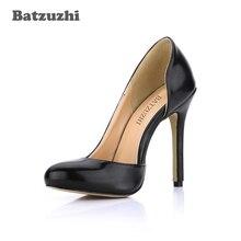 Batzuzhi Luxury Sexy Women Pumps Pointed Toe Leather Shoes 12cmThin High Heels Wedding Shoes Pumps Party Shoes, Big Size 35-43