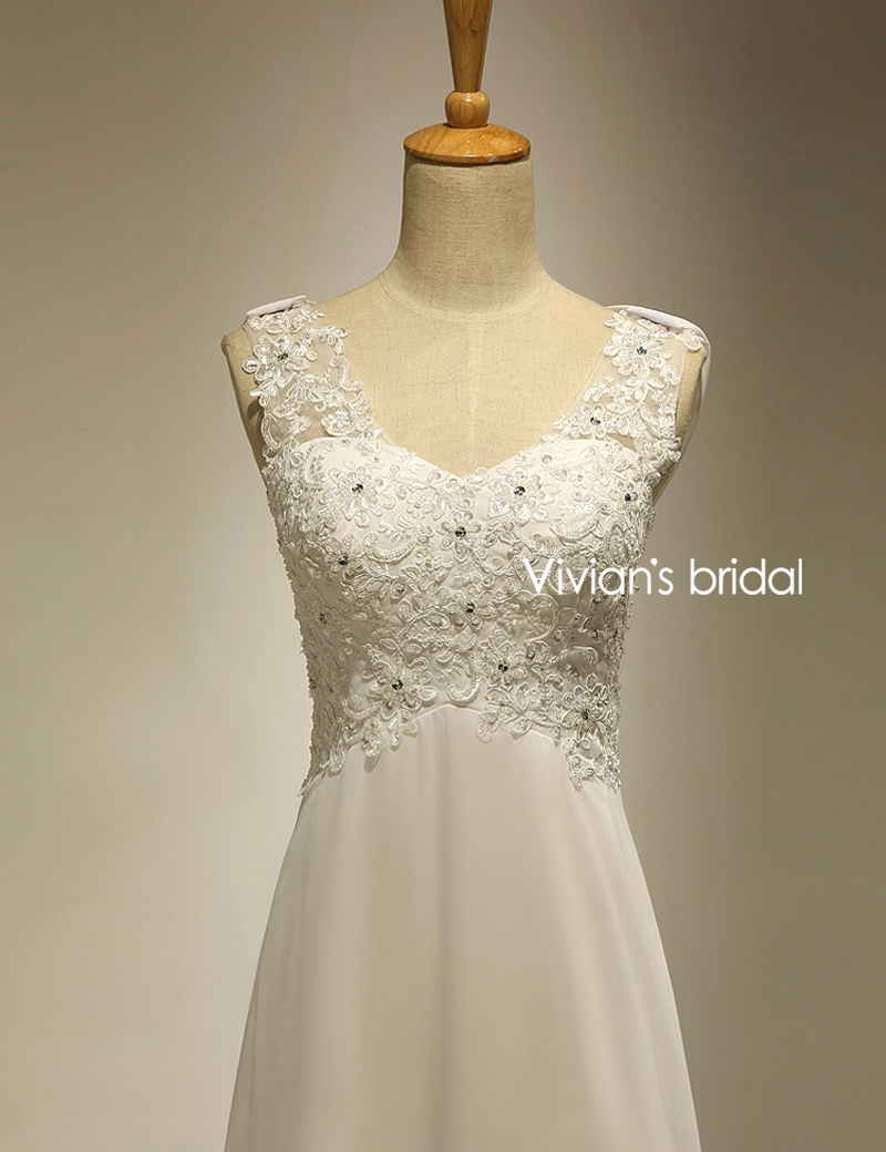 Vivians Bridal Summer Sexy Lace Applique Chiffon Women Beach Wedding Dress Boho Cheap Robe 2018 Brush Train Zipper Bridal Dress
