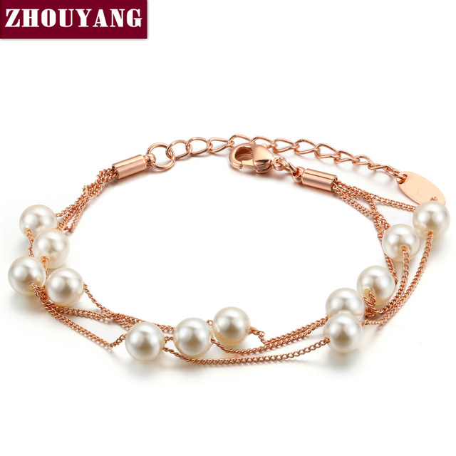 Elegant Imitation Pearl Chain Bracelet Rose Gold Jewelry For Women