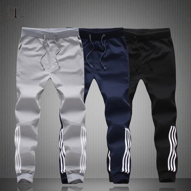Spring Summer Mens Pants Fashion Skinny Sweatpants Mens Joggers Striped Slim Fitted Pants Gyms Clothing Plus