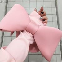 Travel Cosmetic Bag Cartoon Bow Women Zipper Hand Holding Make Up Bow Handbag Organizer Storage Pouch