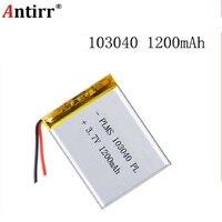 3.7 v 1200 mah 103040 bateria do íon do lítio do polímero/li-íon para o banco de potência do orador do telefone celular mp3 dvd gps vr dvr mp4